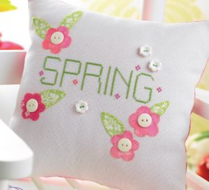 Spring Cross-stitched Cushion & Tag