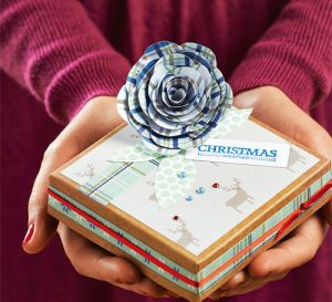 Scandi Christmas Gift Box Tutorial with Tartan Paper Flower