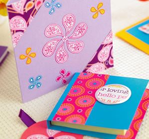 Stylish Painted Papercraft Notepad, Tag & Card
