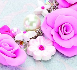 Polymer Clay Flower Clusters Necklace