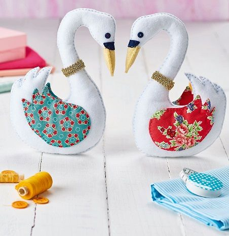 Stitch Regal Swans With Printed Cotton And Felt