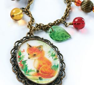 Vintage Christmas Fox Necklace