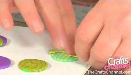 Craft striped Fimo buttons
