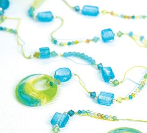 Seaside Blue & Green Bead Lariat Necklace