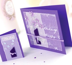 Purple Sequin Bouquet Tag & Card