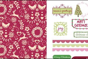Scandi Red & Pink Christmas Free Papers & Sentiments