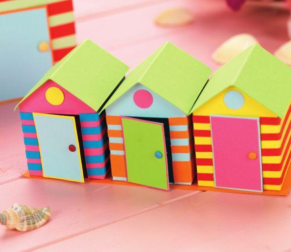 3-d beach huts free card making downloads | card making.