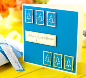 Rubber Stamped Graphic Style Christmas Card & Gift Box