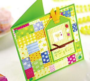 Yellow Gingham Tag Easter Card
