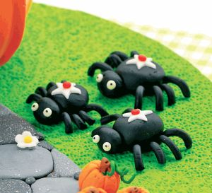 Pumpkin, Witch & Spider Polymer Clay Halloween Cake Topper