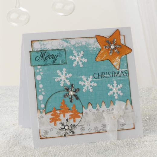 Joy Festive Blue Christmas Card