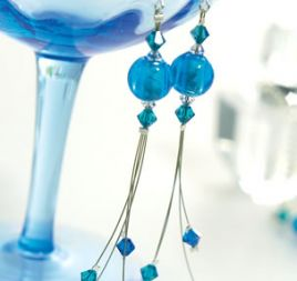 Blue Bead & Crystal Earrings