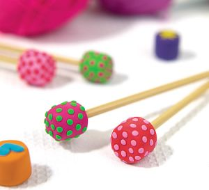Polka Dot Clay Knitting Needle Ends