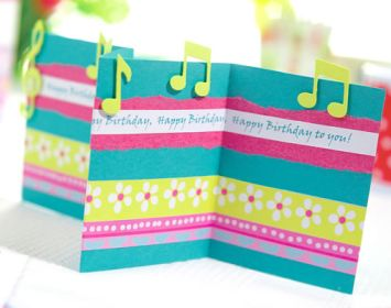 Concertina Fold Music Themed Card