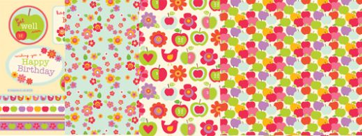 Apple, Floral, Bird Birthday & Well Wishes Free Papers and Sentiments