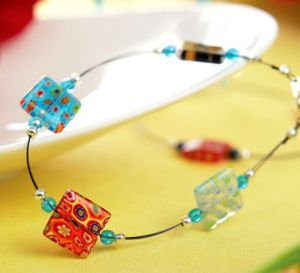 Square Glass Bead Necklace
