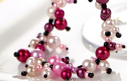 Red, Pink & Cream Glass Pearl Necklace