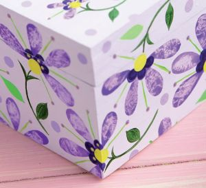 Flower Painted Wooden Seed Box