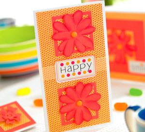 Die Cut Orange Flower Greeting Cards