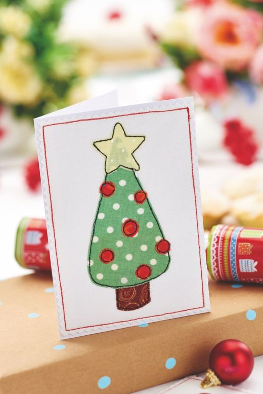 fabric appliqué christmas cards  free craft project