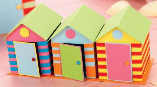 Beach Hut Boxes Free Craft Project Papercraft Crafts