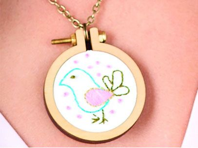 Embroider a Bird Pendant