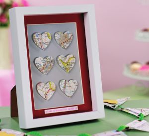 Box Frame And Greeting Heart Decorated With Maps