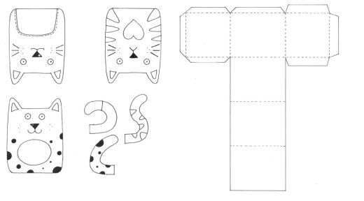 Cat Motifs Gift Box Templates
