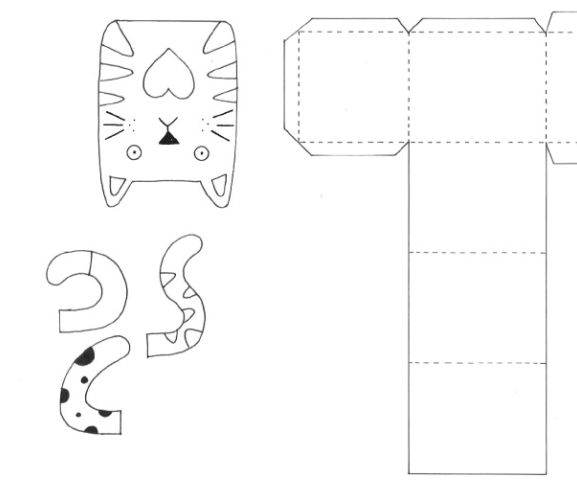 Cat motifs gift box templates free card making for Card making templates free download
