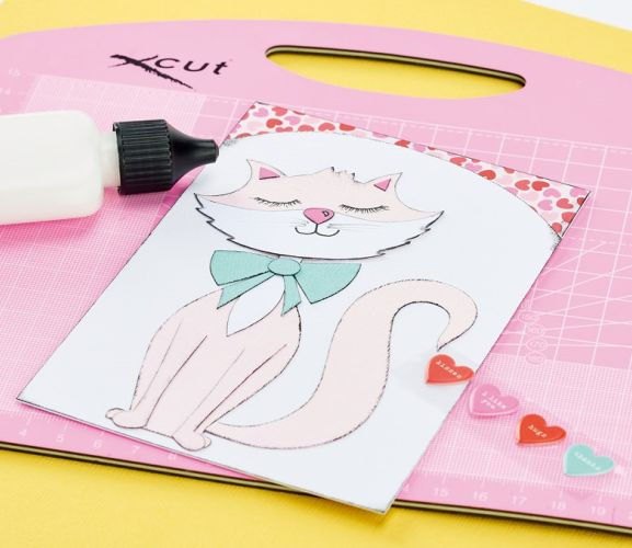 Simple Paper Piecing Cat Card