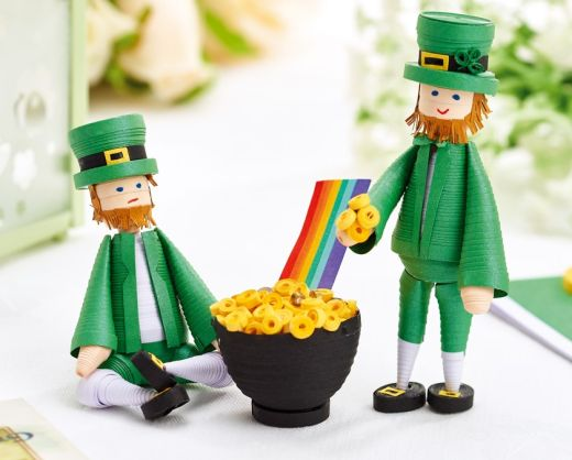 St Patrick's Day Quilled Leprechauns