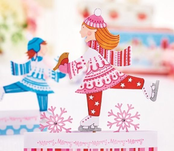 Festive Ice Skating Papercrafts With Templates