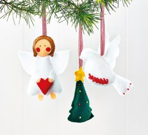 Embroidered Felt Christmas Decorations