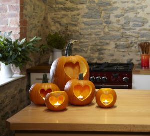 Carved Heart Pumpkins