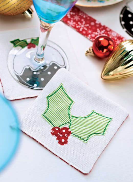 Christmas Holly Fabric Coasters