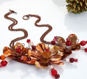 Create Copper Sheet Flowers Necklace