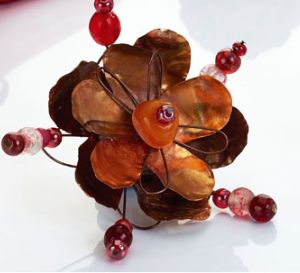 Create Copper Sheet Flowers Brooch