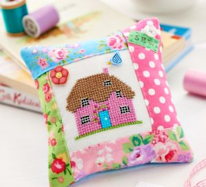 Cross-Stitch Cottage Pincushion