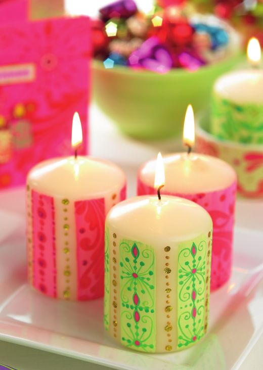 Decorate Candles With Festive Paintwax Free Card Making