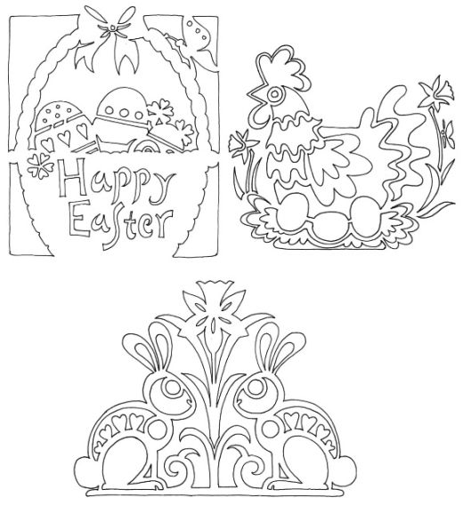 Easter Bunny Papercutting Motifs - Free Card Making Downloads