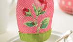 Embroidered Rose Egg Cosy