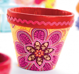 Fabric Decoupage Plant Pots