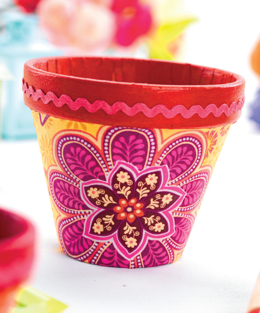 Fabric Decoupage Plant Pots , Free Craft Project \u2013 More