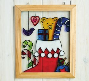 Glass Painted Teddy Plaque For Child's Bedroom