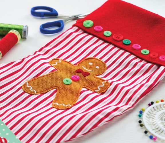 Handstitched Stocking And Gingerbread Man Card