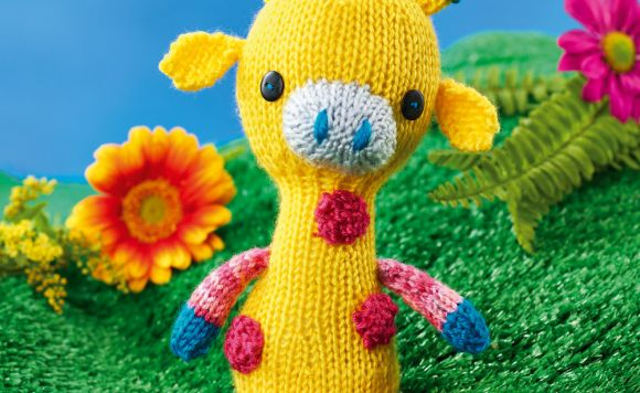 Colourful Knitted Giraffe Toy