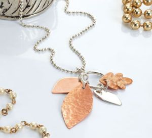 Pierce Metal Leaf Charm Pendant