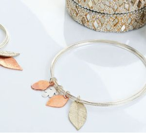 Pierce Metal Leaf Charm Bangle