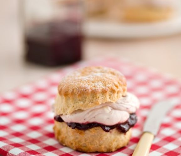 Ginger Scones with Black Cherry Jam