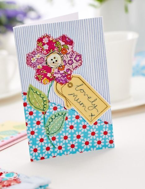 Gorgeous Stitched Flower Mother's Day Card